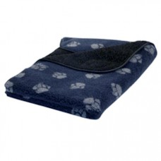 Danish Design  Navy Paw Print Fleece Blanket Small